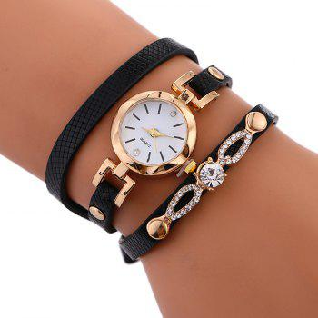 Rhinestone Faux Leather Wrap Bracelet Watch - BLACK BLACK