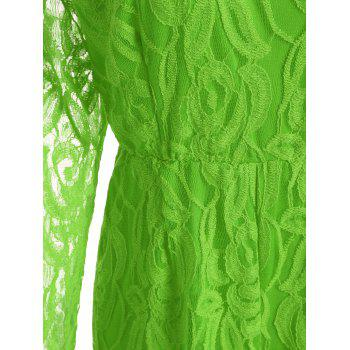 Lace Panel See Thru Plus Size Romper - GREEN GREEN