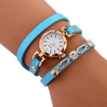 Rhinestone Faux Leather Wrap Bracelet Watch - AZURE AZURE
