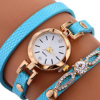 Rhinestone Faux Leather Wrap Bracelet Watch -  AZURE