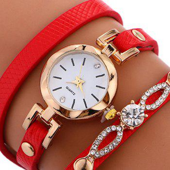 Rhinestone Faux Leather Wrap Bracelet Watch -  RED