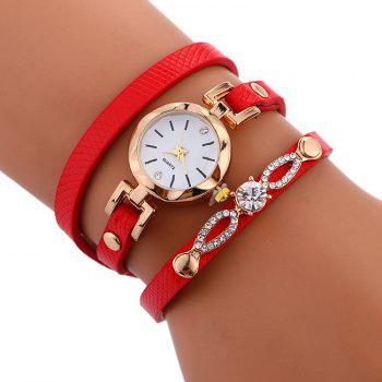 Rhinestone Faux Leather Wrap Bracelet Watch - RED RED