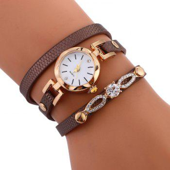 Rhinestone Faux Leather Wrap Bracelet Watch - BROWN BROWN