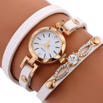 Rhinestone Faux Leather Wrap Bracelet Watch -  WHITE