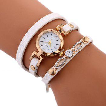 Rhinestone Faux Leather Wrap Bracelet Watch - WHITE WHITE