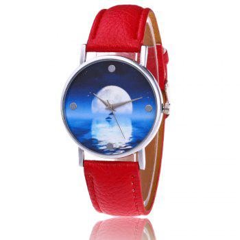 Sea Moon Face Faux Leather Watch - RED RED
