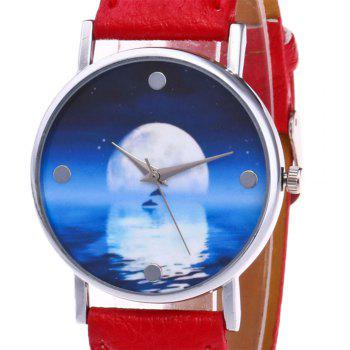 Sea Moon Face Faux Leather Watch -  RED