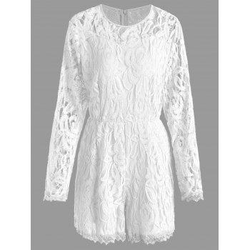 Lace Panel See Thru Plus Size Romper - WHITE 3XL