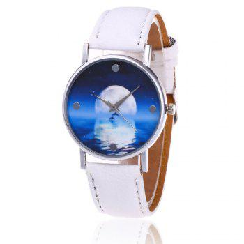 Sea Moon Face Faux Leather Watch - WHITE WHITE
