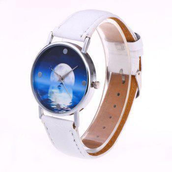 Sea Moon Face Faux Leather Watch - Blanc