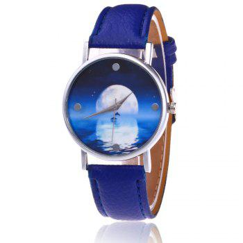 Sea Moon Face Faux Leather Watch - BLUE BLUE