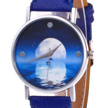 Sea Moon Face Faux Leather Watch -  BLUE