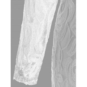 Lace Panel See Thru Plus Size Romper - WHITE WHITE