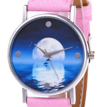 Sea Moon Face Faux Leather Watch -  PINK