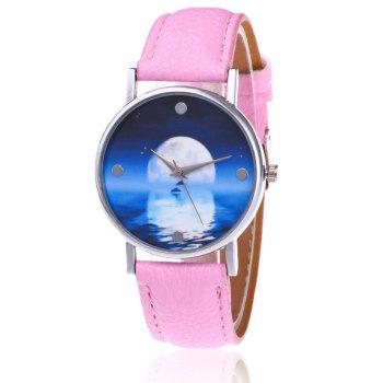 Sea Moon Face Faux Leather Watch - PINK PINK