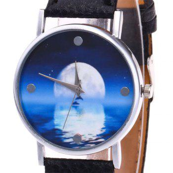 Sea Moon Face Faux Leather Watch -  BLACK