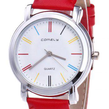 Faux Leather Band Round Quartz Watch -  RED