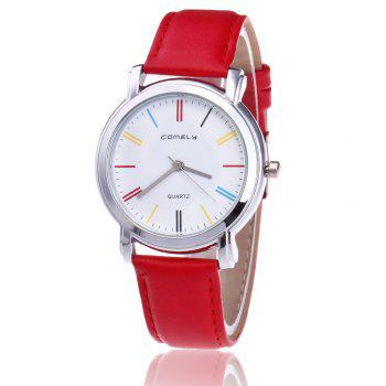 Faux Leather Band Round Quartz Watch - RED RED