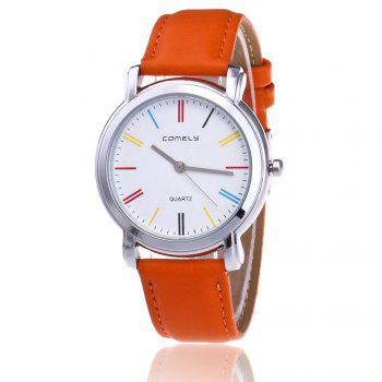 Faux Leather Band Round Quartz Watch