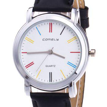 Faux Leather Band Round Quartz Watch -  BLACK