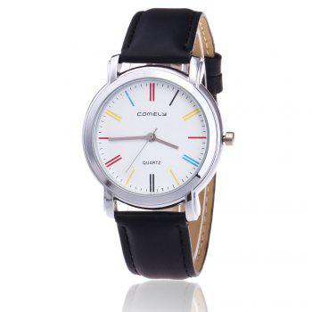 Faux Leather Band Round Quartz Watch - BLACK BLACK