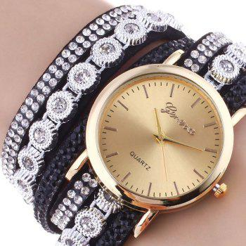 Rhinestoned Round Wrap Bracelet Watch -  BLACK