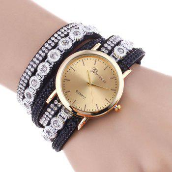 Rhinestoned Round Wrap Bracelet Watch - BLACK BLACK