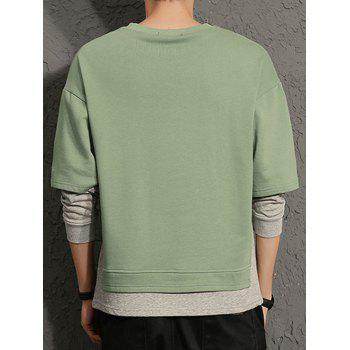 Layered Color Block Round Collar Sweatshirt - GREEN XL