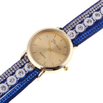 Rhinestoned Round Wrap Bracelet Watch -  BLUE