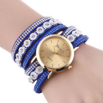 Rhinestoned Round Wrap Bracelet Watch - BLUE BLUE