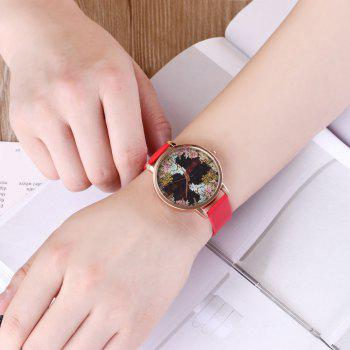 Floral Letter Face Faux Leather Watch -  RED