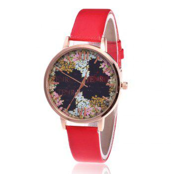 Floral Letter Face Faux Leather Watch - RED RED