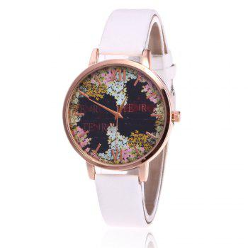 Floral Letter Face Faux Leather Watch - WHITE WHITE