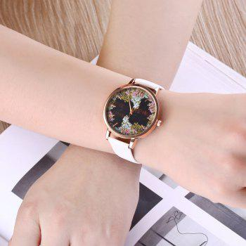 Floral Letter Face Faux Leather Watch -  WHITE