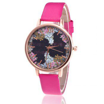 Floral Letter Face Faux Leather Watch - TUTTI FRUTTI TUTTI FRUTTI