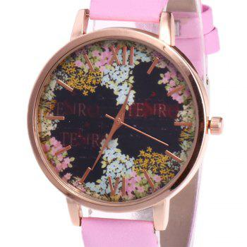 Floral Letter Face Faux Leather Watch - PINK