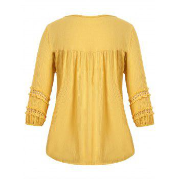 Plus Size Pompon Embellished Peasant Top - GINGER ONE SIZE