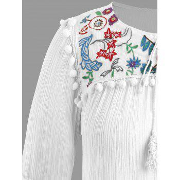 Plus Size Pompon Embellished Peasant Top - WHITE ONE SIZE