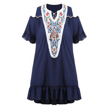 Plus Size Embroidered Cold Shoulder Long Asymmetric Top