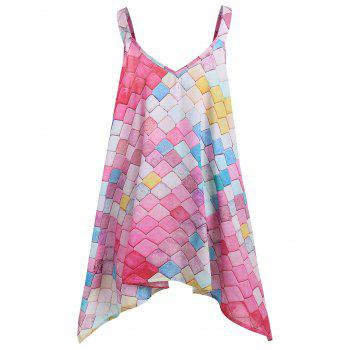 Sleeveless Printed Plus Size Handkerchief Top