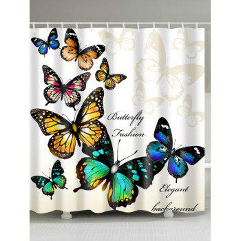 Butterfly Print Fabric Shower Curtain For Bathroom