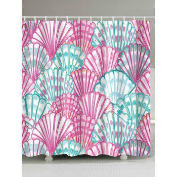 Water Resistant Watercolor Shell Bath Shower Curtain