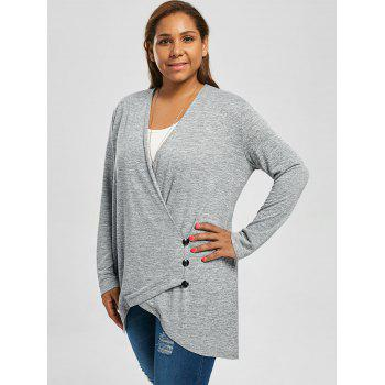 Bouton Taille Plus Top tunique Heather Fly - Gris Clair 5XL