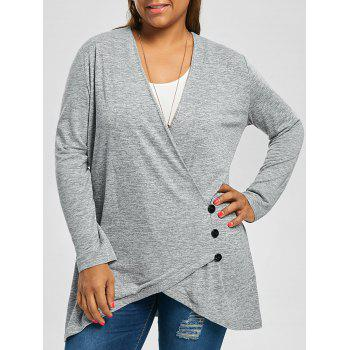 Plus Size Button Fly Heather Tunic Top