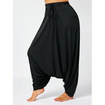 Drawstring Drop Bottom Plus Size Harem Pants - BLACK 5XL
