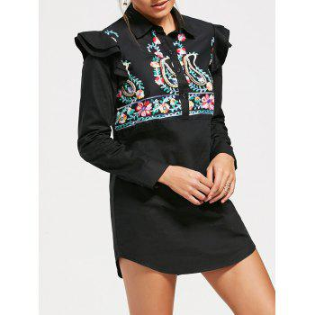Long Sleeve Paisley Embroideried Tunic Shirt