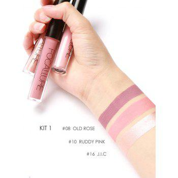 3Pcs Waterproof Metal Color Moisturize Shimmering Lip Glaze -