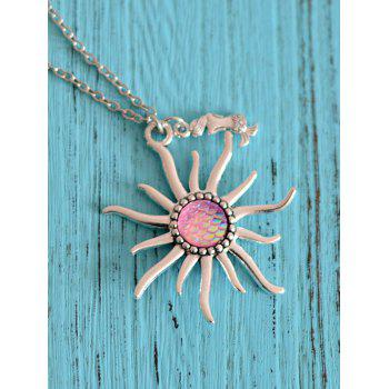 Mermaid Scale Sun Pendant Necklace - LIGHT PINK LIGHT PINK