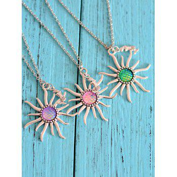 Mermaid Scale Sun Pendant Necklace - LIGHT PINK