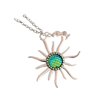 Mermaid Scale Sun Pendant Necklace -  GREEN